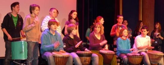 Percussionworkshop mit Jugendlichen in der ufaFabrik